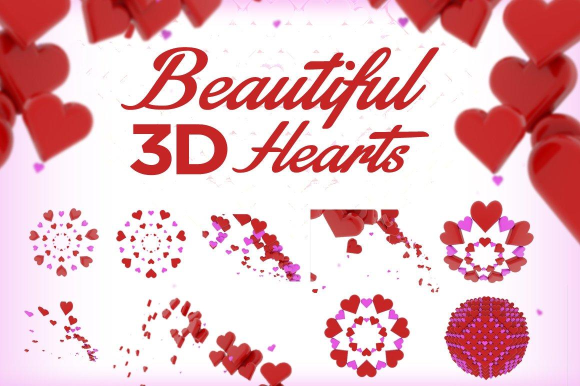 3D Hearts Render