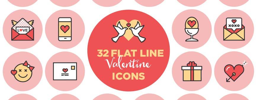 32-Flat-Line-Valentine-Icons