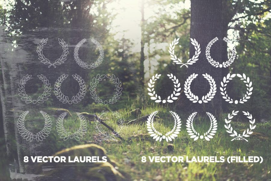 16 Handsketched Vector Laurel Wreaths