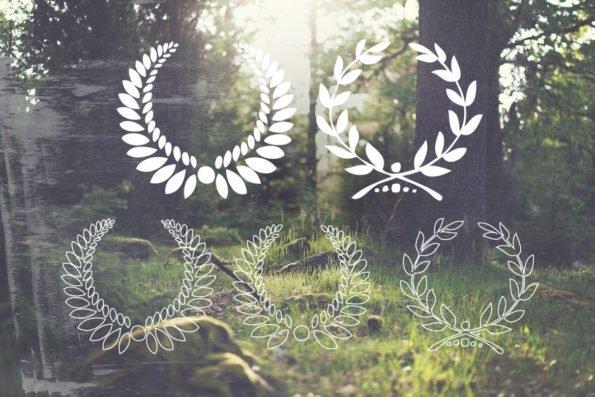 16 Handsketched Vector Laurel Wreaths