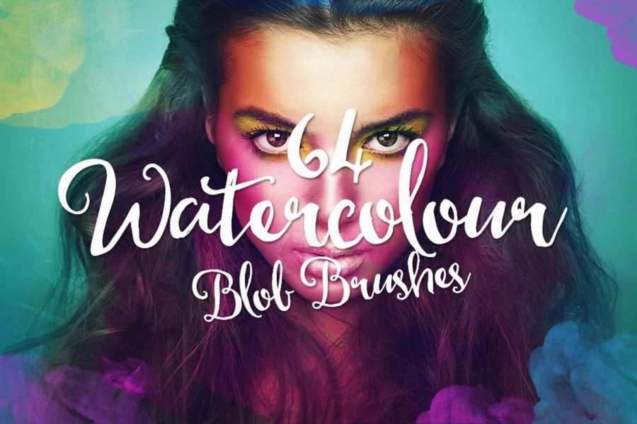 64 Watercolor Blob Photoshop Brushes by Layerform Design Co