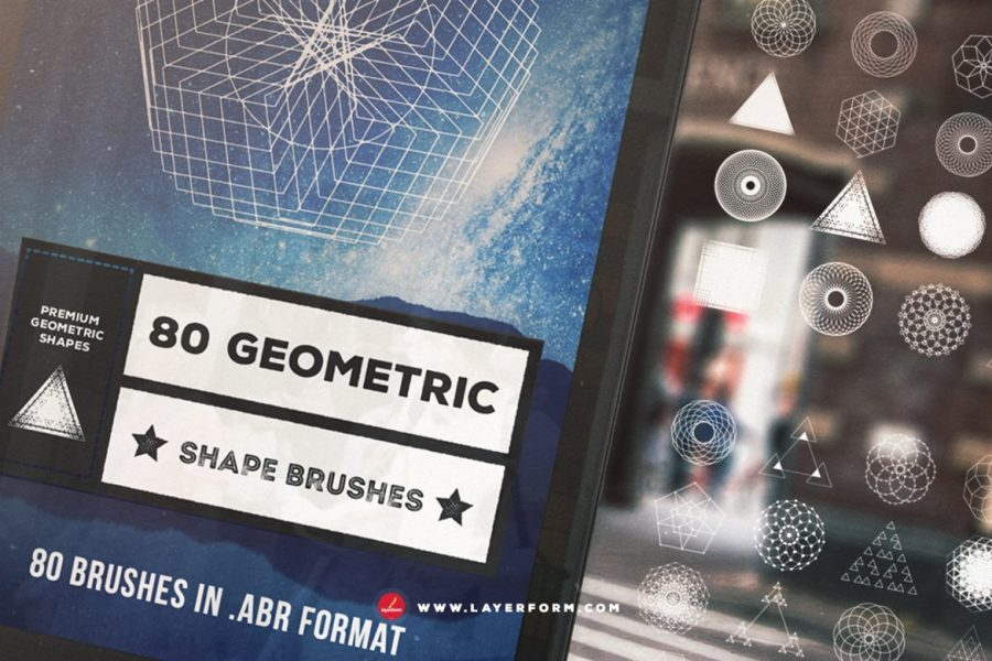 80 Geometric Shape Brushes by Layerform Design Co