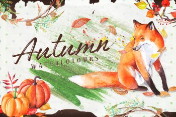 Autumn Watercolour Wreaths & Clipart Set from Layerform Design Co