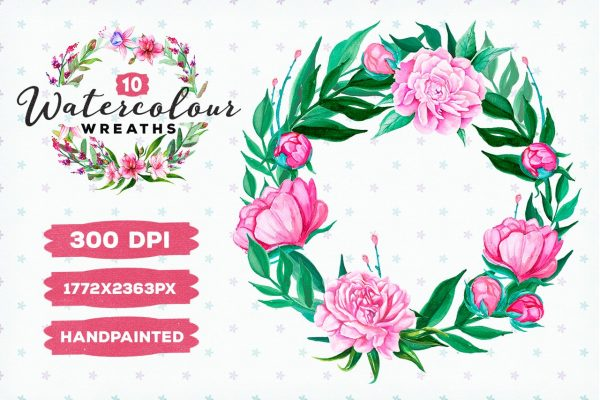 10 Watercolour Wreaths by Layerform Design Co