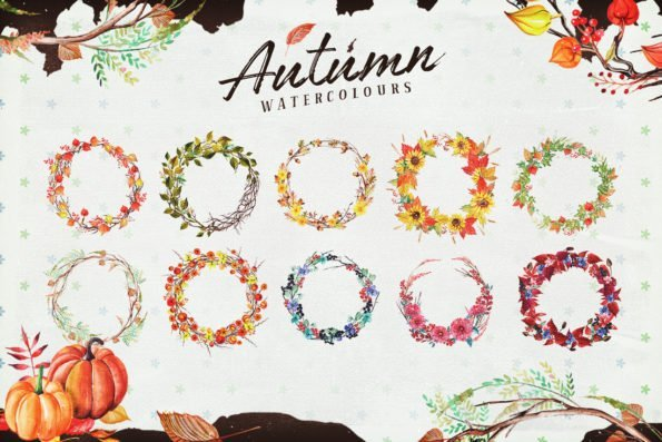 Autumn Watercolour Wreaths & Clipart Set from Layerform Design Co
