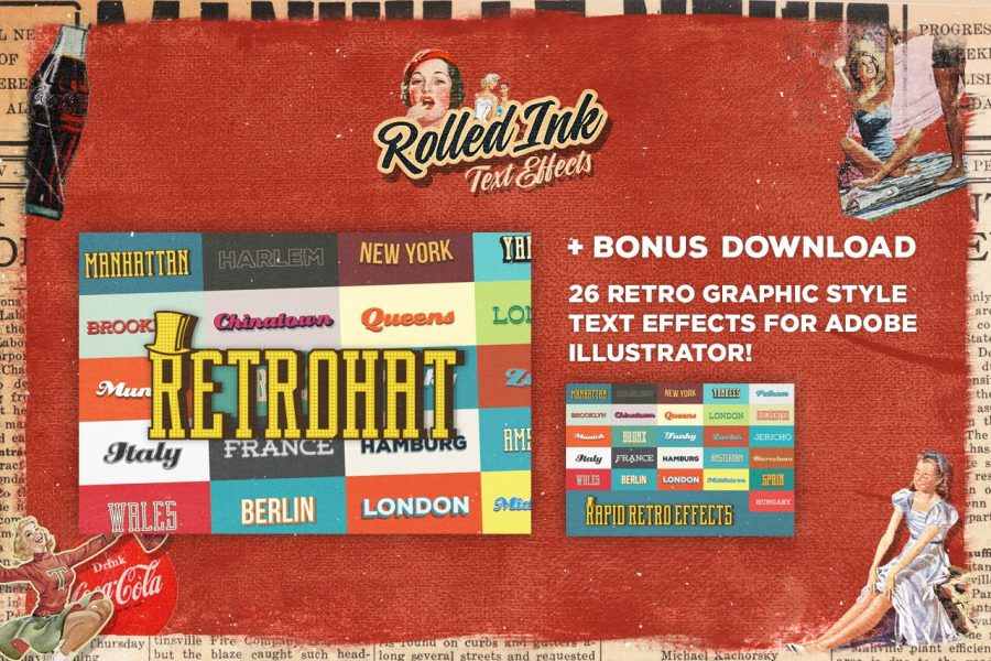 Rolled Ink Vector Text Effects by Layerform Design Co