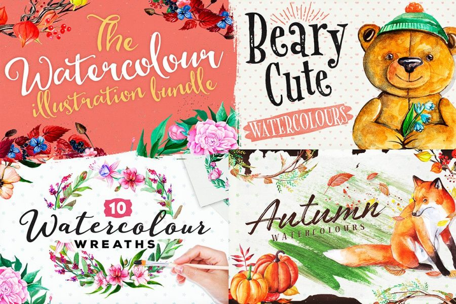 The Watercolour Illustration Bundle by Layerform Design Co