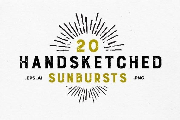 20 Handsketched Vector Sunbursts by Layerform Design Co