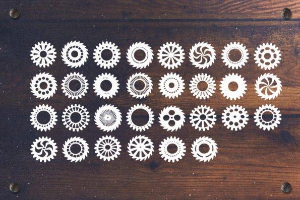 30 Rustic Vector Cogwheels by Layerform Design Co