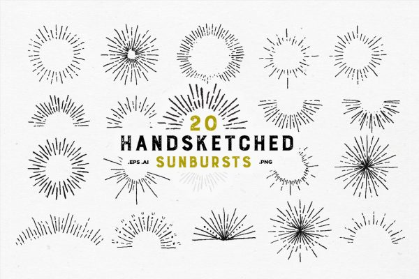 20 Handsketched Vector Sunbursts by Layerform Design Co