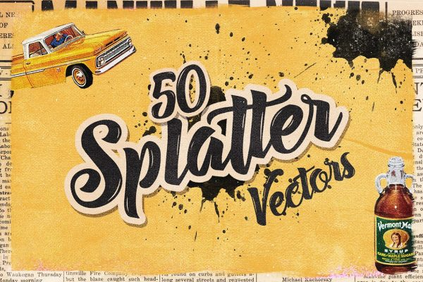 50 Handmade Splatter Vectors by Layerform Design Co