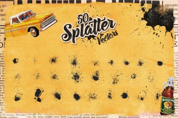 50 Handmade Splatter Vectors by Layerform Design Co
